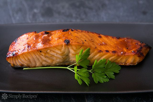 Hoisin Glazed Baked Salmon ~ Quick and easy broiled salmon fillets with a hoisin sauce glaze. ~ SimplyRecipes.com