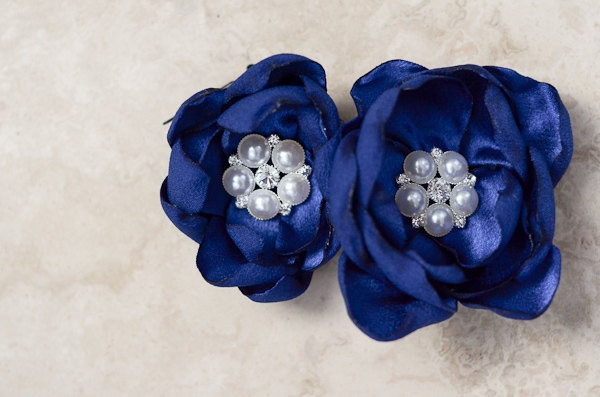 Bridal Hairpiece, Special Occasions, Wedding Accessory, Royal Blue Flower Duo with Pearl and Rhinestone Centers. $40.00, via Etsy.