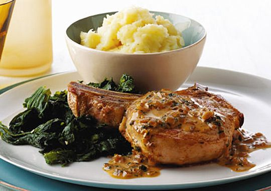 5 quick pork chop recipes inc pork chop with sage-cider cream sauce and thyme rubbed pork chops with pesto.