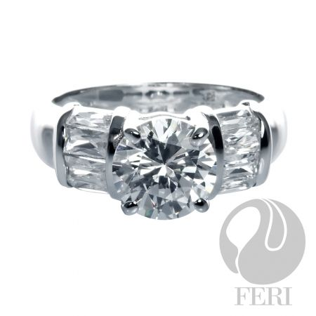 .925 fine sterling silver with 0.1 micron natural rhodium & AAA white cubic zirconia from GWT FERI   Designer lines.    Set with:   - AAA white cubic zirconia