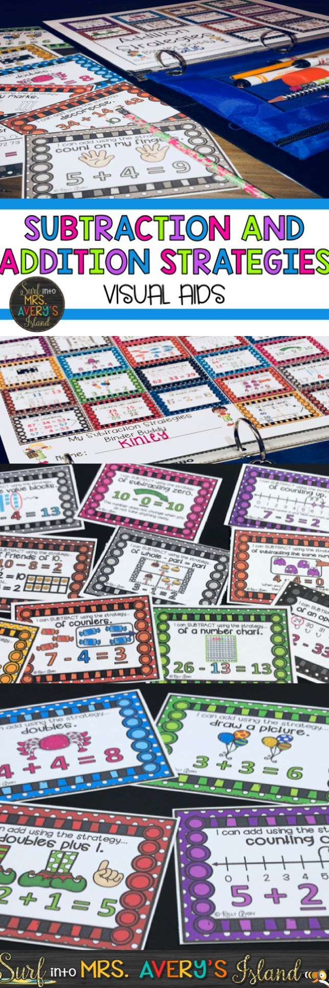 If you are seeking a variety of addition and subtraction strategies to teach your math students how to solve addition and subtraction problems, this bundle includes both of my ADDITION AND SUBTRACTION STRATEGIES and visual aids for your students to put in their math toolbox. Click the link to discover a variety of problem solving ideas, and very soon, your students will break the habit of always counting their fingers to solve addition and subtraction problems in math!