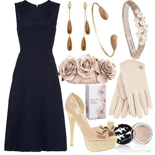 Wedding Guest Outfit: Simple dress with an elegant line paired with classy accessories in a contrasting soft colour.