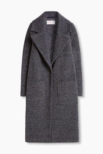 Esprit / Long wool/silk blend tweed coat