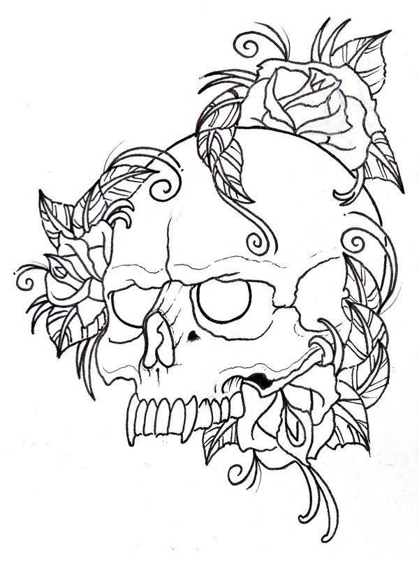 Skull And Roses Outline By Vikingtattoo On Deviantart Skull Coloring Pages Tattoo Coloring Book Coloring Pages