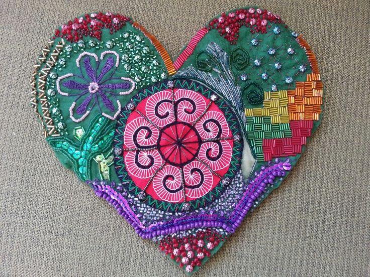 Gabbys heart,  beaded fabric