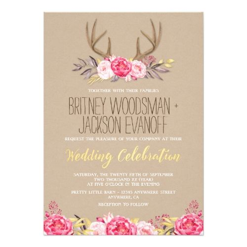 Woodland Wedding Invitation Rustic Peony and Deer Antler Wedding Invitations