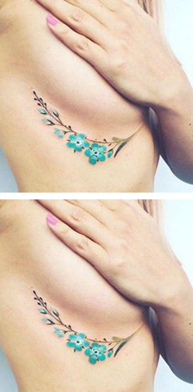 Watercolor Colored Blue Floral Flower Rib Cage Tattoo Ideas for Women - ideias de tatuagem para mulheres - www.MyBodiArt.com