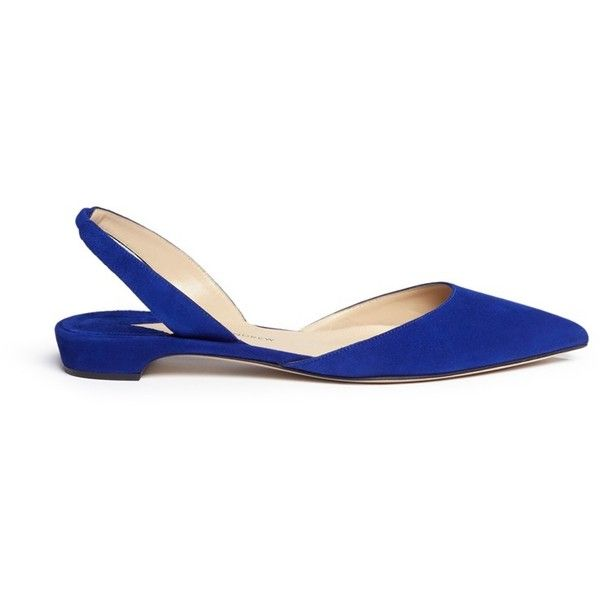 Paul Andrew 'Rhea 15' suede slingback flats ($1,247) ❤ liked on Polyvore featuring shoes, flats, blue, suede pointed toe flats, pointed toe flats, pointy toe flats, flat shoes and flat pumps