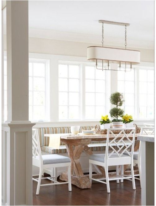 breakfast nookKitchens, Dining Rooms, Contemporary Dining Room, Lights Fixtures, Beach Cottages, Breakfast Nooks, Windows Seats, Diningroom, Breakfast Room