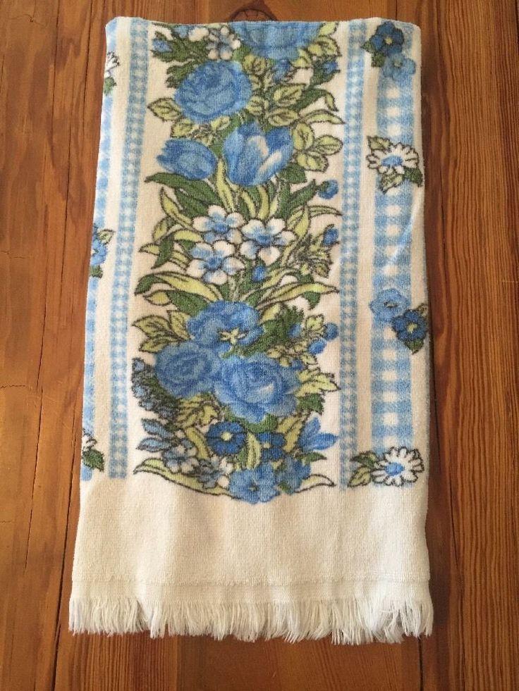 Vintage BATH TOWEL Blue FLORAL Retro FRINGE 60s 70s Color Fast Print BRIGGS USA