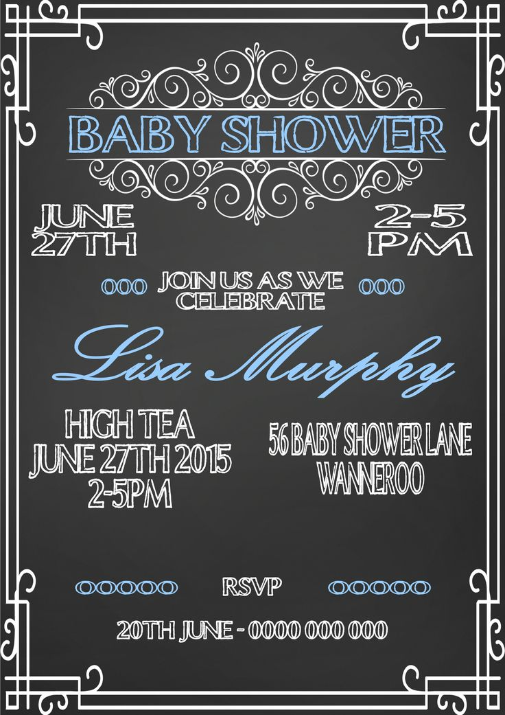 Vintage Chalkboard Baby Shower Invitation  $12AUD emailed to you - you print and frame PAYPAL ACCEPTED!  Order here  www.facebook.com/readyforprint