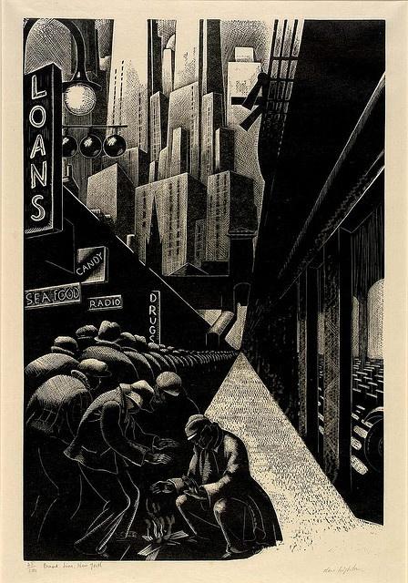 Clare Leighton: Bread Line, New York, 1932