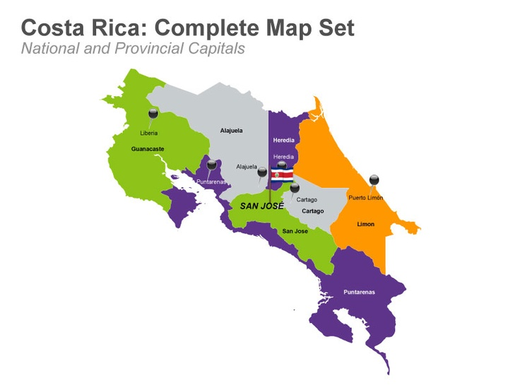 Costa Rica Map - Apple Keynote Template.  These slides are mainly used by teachers, researchers, travel agencies and business consultants to show the country's geographical location, its capital city San Jose, national flag icons, and major cities like Cartago, Caldera and San Isidro. It also includes other bar graph slides to represent statistical information about demographics. Buy and download from muezart.com