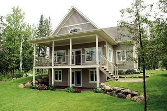 2 bedroom plan for lake house-ab.  House Plan 23-2038