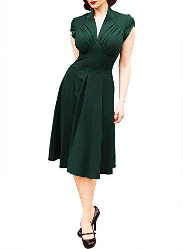 Miusol Damen Kurzarm V-Ausschnitt Sommerkleid Petticoat Faltenrock Cocktailkleid Stretch Business Kleid Gruen Gr.40/L Miusol http://www.amazon.de/dp/B00WM7JGOA/ref=cm_sw_r_pi_dp_oQtUvb1PPWHA9