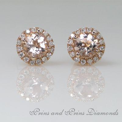 Morganite and Diamond halo stud earrings in Rose Gold