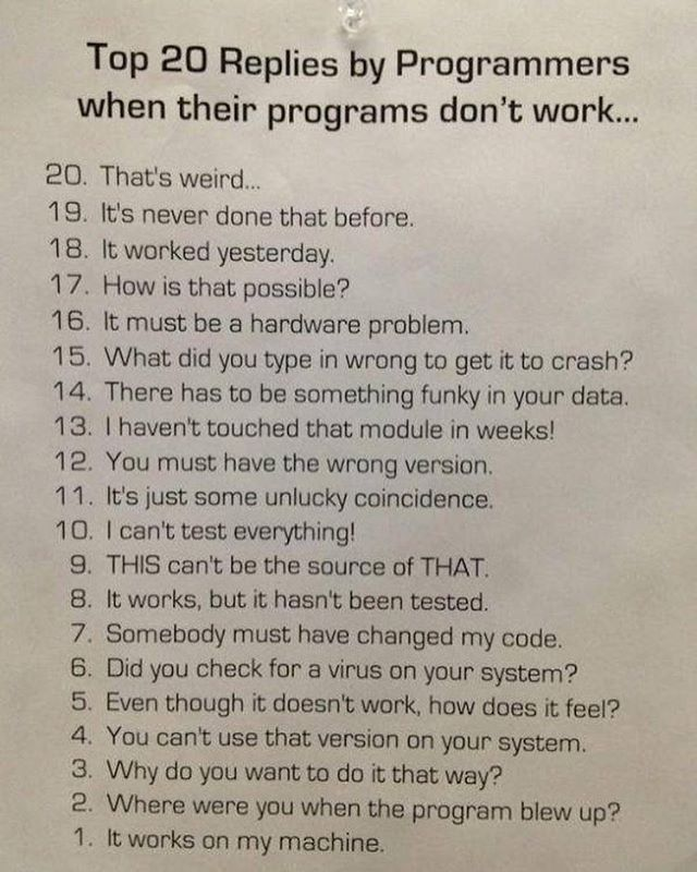 TOP 20 REPLIES BY PROGRAMMERS. --------------------------------------------------  JavaScript Help Bot now is available for your questions. If you want to ask for help please message us with your question on our page on Facebook @javascriptJS or check the link in bio. -------------------------------------------------- #javascript #angularjs #reactjs #webdevelopment #webdeveloper #webdesign #webdesigner #html #html5 #bootstrap #application #app #development #programming #css #css3 #js #jquery…