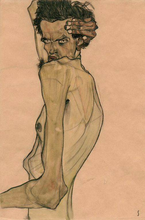 "Egon Schiele (1890-1918), 1910, ""Self-Portrait with arm twisted above head,"" watercolor and charcoal, Private Collection.:"