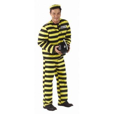 Deguisement Prisonnier Dalton jaune noir homme