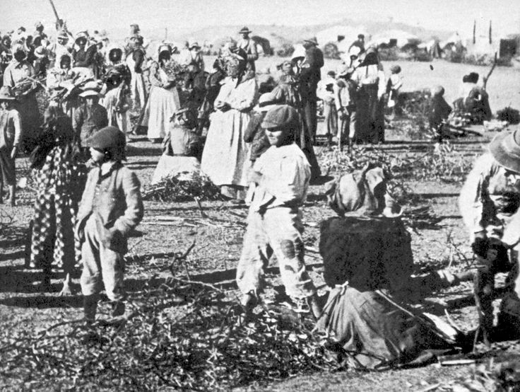 These camps were often located in miserable terrain with discarded military tents serving each as the housing for multiple families.  Everyone slept on the ground as there were no beds and there were only the most rudimentary sanitary or medical facilities.  No fruit, vegetables, or milk was provided by their captors and the detained population often succumbed to disease and malnourishment.