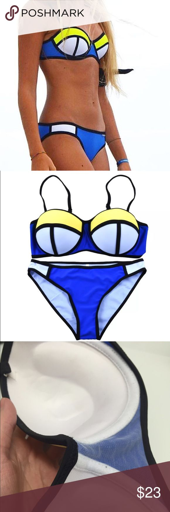 Blue Yellow White Bikini Set Balconet Balconette New, no tags S: bottoms XS or XXS (00), top B, maybe C (I'm a 32D and it's a bit small) M: bottoms 0-2, top C-D (It fits me). L: bottoms 0-3, top D - maybe DD (its too big on me but it's so molded you can't really tell) I had one person complain it was too small more like a C but they were Dd-Ddd  Cup is molded and does not lay flat so if you are pretty flat chested it might be a bit big.  Not neoprene. Top has push up like the 3rd photo…