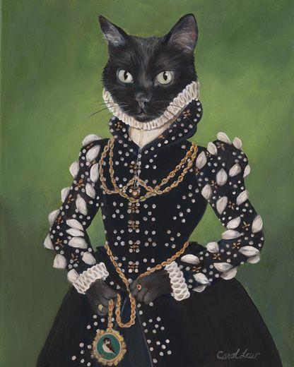 Carol Lew | Isabel - Anthropomorphic cat digital art Order an oil painting of your pet now at www.petsinportrait.com
