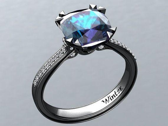 Victorian inspired 14k Black gold Engagement Ring Diamond Ring 2.65 ct VVS Alexandrite  W26A14BK