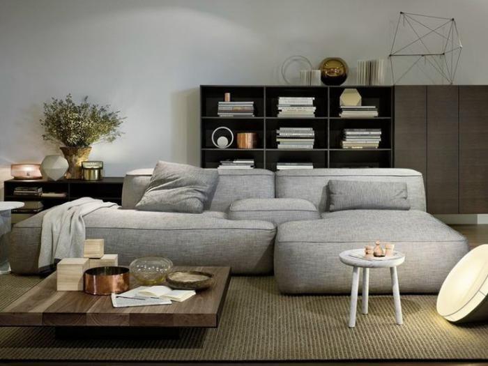 canapé composable, table basse carrée, canapé modulable gris