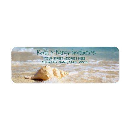 Beach Scene Personalized Return Address Label - return address labels label diy personalize cyo unique design custom
