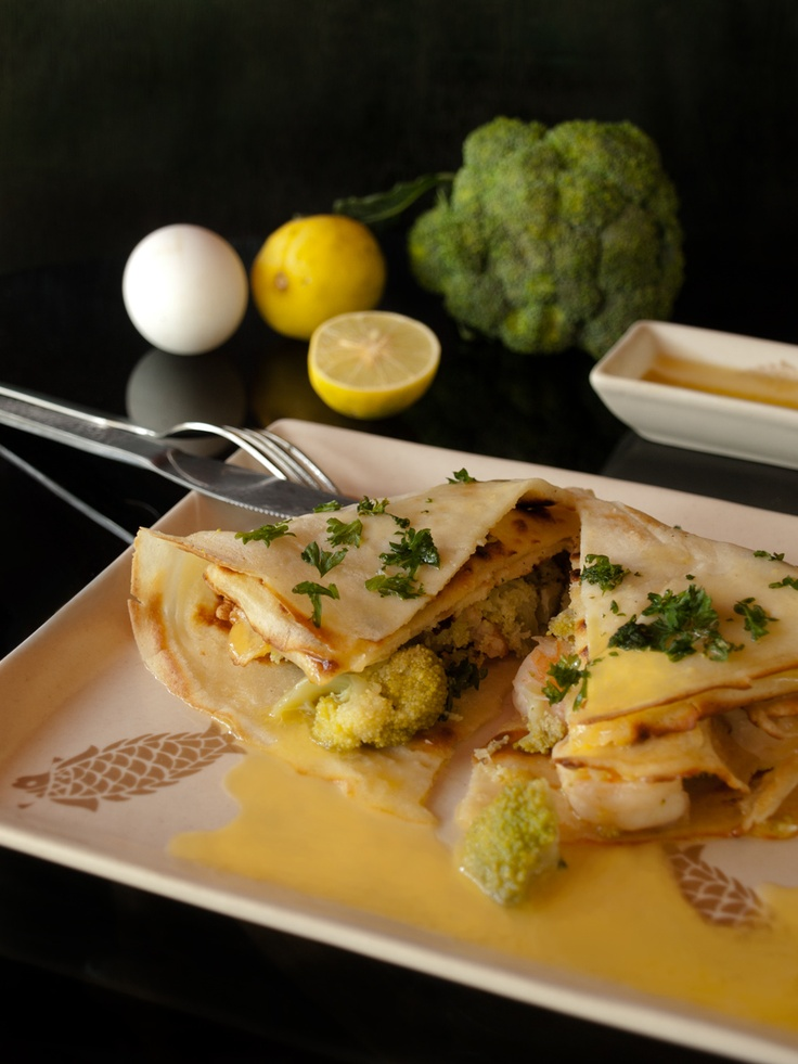 [France] Savory Crepes with Prawns, Broccoli and Hollandaise Sauce for www.masalaherb.com