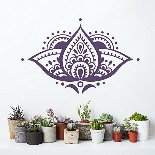 Vinilo adhesivo decorativo para pared, diseño de mandala en forma de flor de loto T101