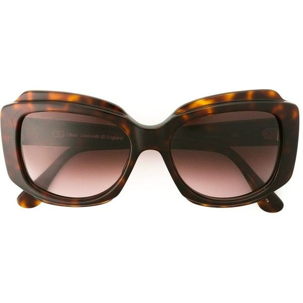 Oliver Goldsmith 'Tak' sunglasses ($425) ❤ liked on Polyvore featuring accessories, eyewear, sunglasses, brown, oliver goldsmith eyewear, brown glasses, oliver goldsmith, acetate sunglasses and oliver goldsmith glasses