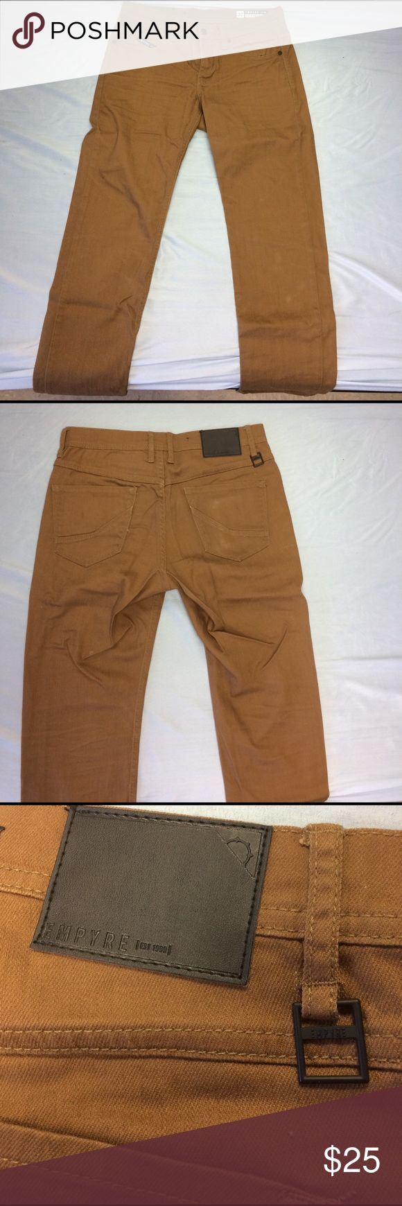 EMPYRE Skeletor Dark Khaki Skinny Jeans (32x32) NWOT EMPYRE Skeletor Dark Khaki Skinny Fit Jeans. Size 32x32. Dark Beige. Key holder on back belt loop. From Zumiez. empyre Pants Chinos & Khakis