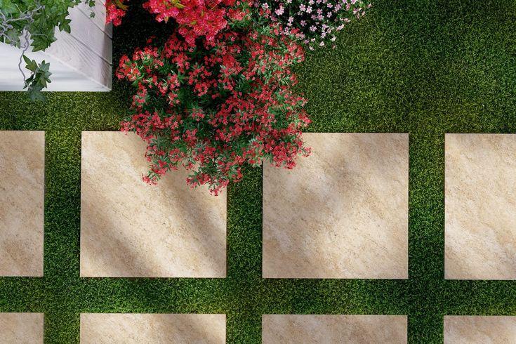 Ścieżka na trawie, ogród DIY, zrób sam taras. Ścieżka z płytek ceramicznych na trawie. Czemu nie! Możesz samodzielnie ułożyć, a kiedy się znudzi - zmienić przebieg trasy. Płyty gresowe Solid 2.0 - Atakama - Opoczno