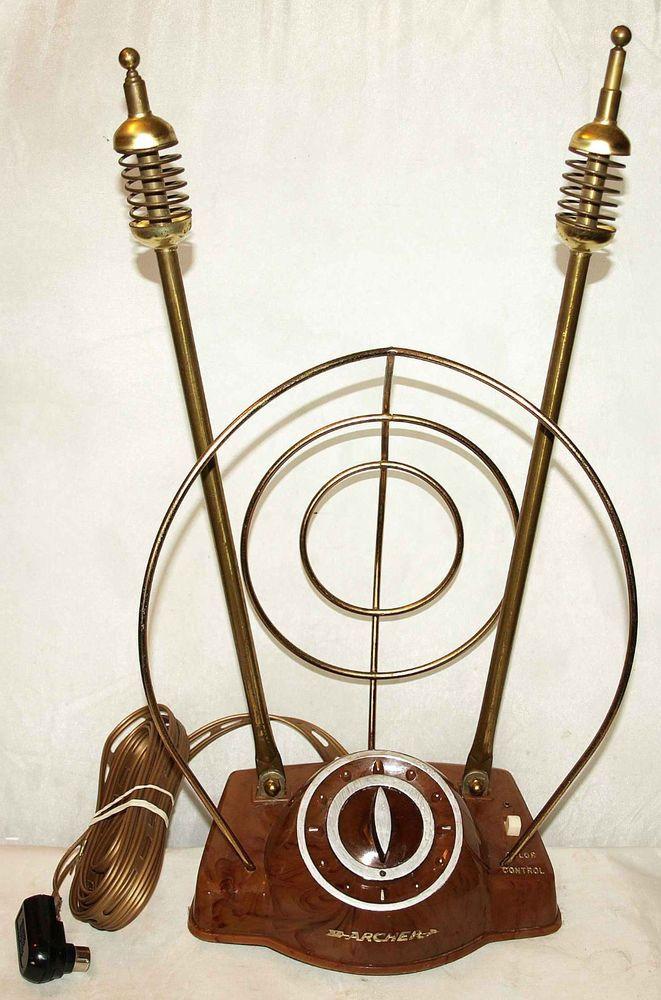 Vtg 1950s 60s Brass Rabbit Ears TV Antenna Atomic Space