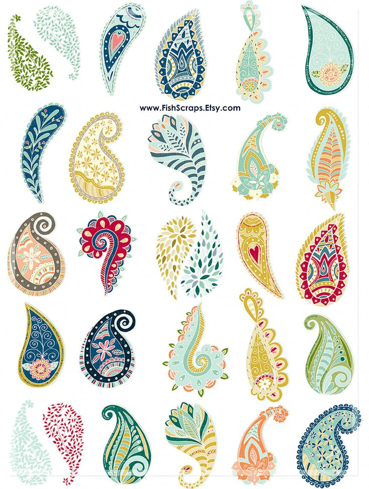 Hand Drawn Paisley Digital Graphics Paisley ClipArt от FishScraps
