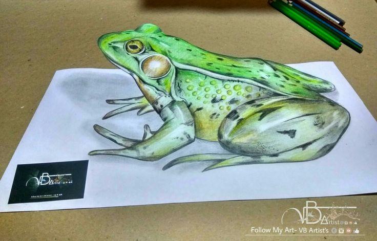 #3d #art🎨 #Work #frog  Duration- 2.3hrs Size- 60×30cm @vb_artist #shared #keep #supporting #3d_art