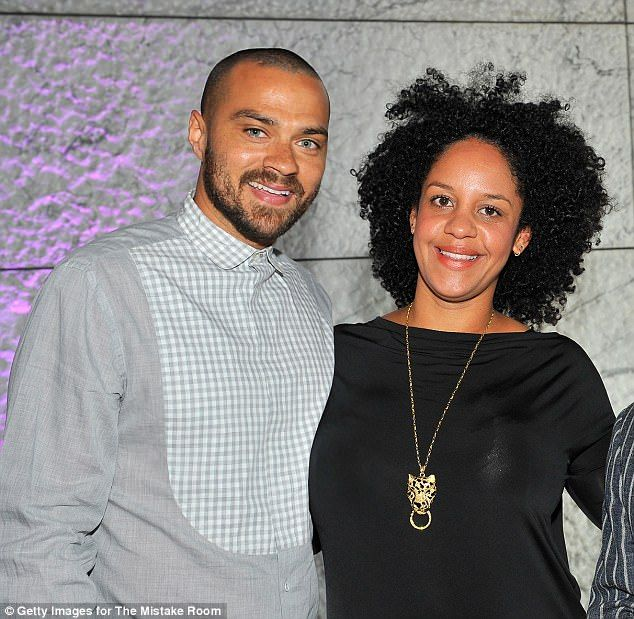 Aryn Drake-Lee, 34, (right) has slammed estranged husband and Grey's Anatomy star Jesse Williams, 36, (left) in court documents over his parenting skills. They are pictured together in March 2015