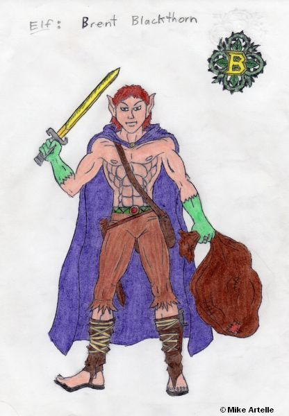 Brent Blackthorn the Elf illustration, early 1990's. By Mikey Artelle This was the first drawing that I made of this character.