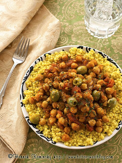Moroccan-style Olives and Chickpeas. This doesn't look like anything that I ate in Morocco, but it DOES look delish!