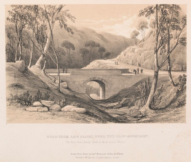 Road from Emu Plains, Over the Blue Mountains - The First Stone Bridge Built in New South Wales c. 1848 - William Spreat 1816 - Lithographer - Contributor: Captain Robert Marsh Westmacott 1801-1870 (Sketches in Australia)