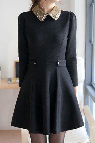 Nail Bead Beam Waist Ruffles Polyester Color Matching Dress For Women