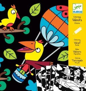 Бархатные раскраски Птицы, DJECO