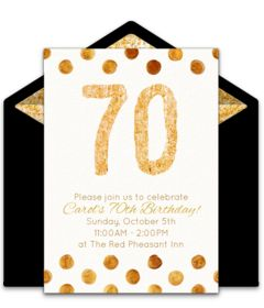 Customizable, free Golden 70 online invitations. Easy to personalize and send for a 70th birthday party. #punchbowl