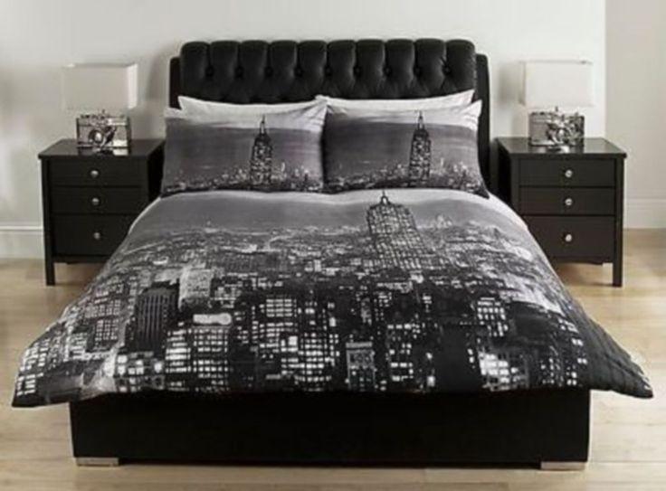 Best Details About Black Grey New York City Scape Double 640 x 480
