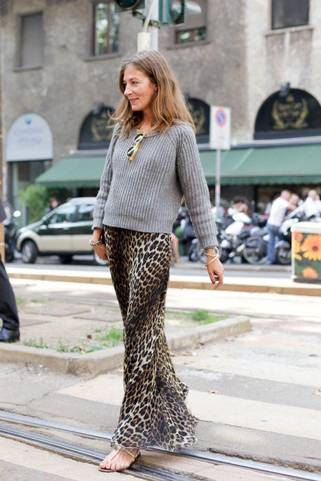 leopard maxi and grey jumper