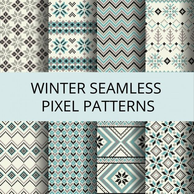 Coleção de pixels padrões sem emenda retro com o inverno ornamento Nordic Vetor grátis