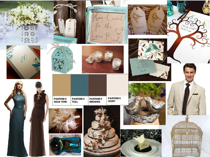Copper Teal Brown And Ivory Vintage Bird Wedding