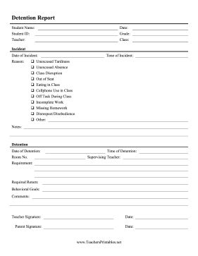 This detailed detention slip lists behavior, incident reports, reasons for punishment, student goals, and notes from the teacher. Free to download and print