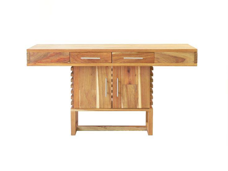 An unusual custom kiaat 'desk' with slat sides